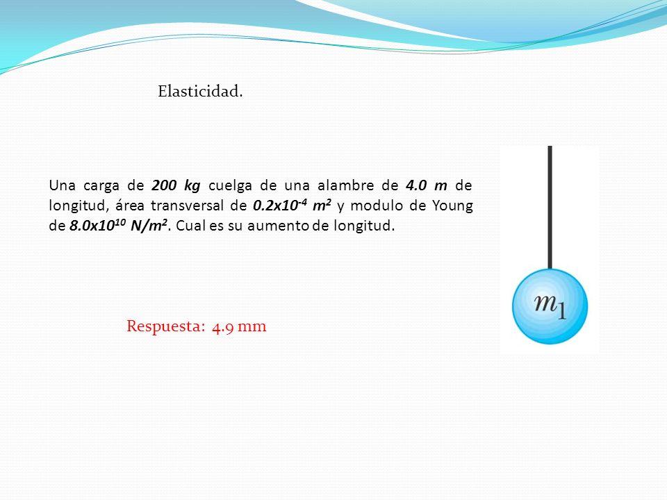 Elasticidad. Una carga de 200 kg cuelga de una alambre de 4.0 m de longitud, área transversal de 0.2x10 -4 m 2 y modulo de Young de 8.0x10 10 N/m 2. C