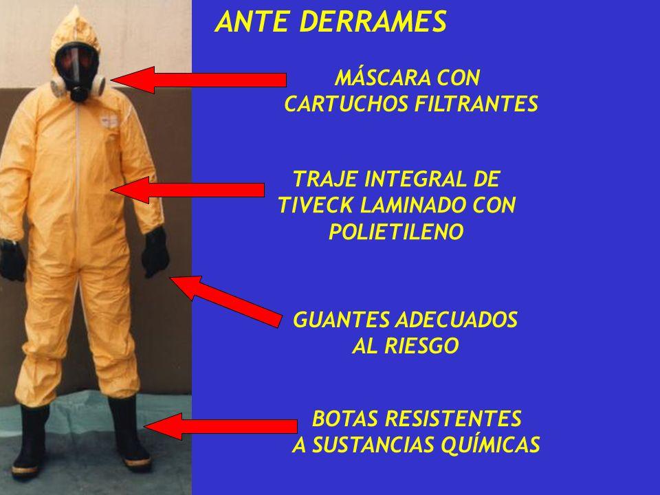 ANTE DERRAMES TRAJE INTEGRAL DE TIVECK LAMINADO CON POLIETILENO GUANTES ADECUADOS AL RIESGO BOTAS RESISTENTES A SUSTANCIAS QUÍMICAS MÁSCARA CON CARTUC