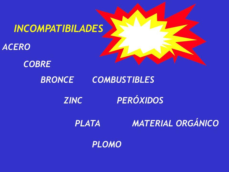 ACERO COBRE INCOMPATIBILADES BRONCE ZINC PLATA PLOMO COMBUSTIBLES PERÓXIDOS MATERIAL ORGÁNICO