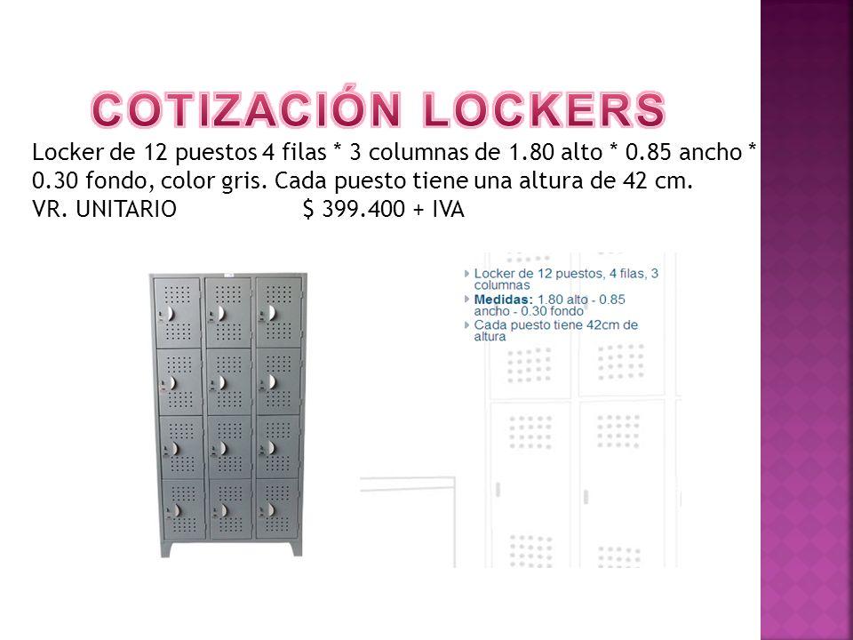 Locker de 12 puestos 4 filas * 3 columnas de 1.80 alto * 0.85 ancho * 0.30 fondo, color gris. Cada puesto tiene una altura de 42 cm. VR. UNITARIO $ 39