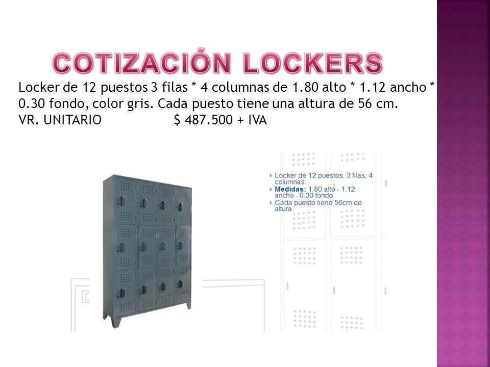 Locker de 12 puestos 3 filas * 4 columnas de 1.80 alto * 1.12 ancho * 0.30 fondo, color gris. Cada puesto tiene una altura de 56 cm. VR. UNITARIO $ 48