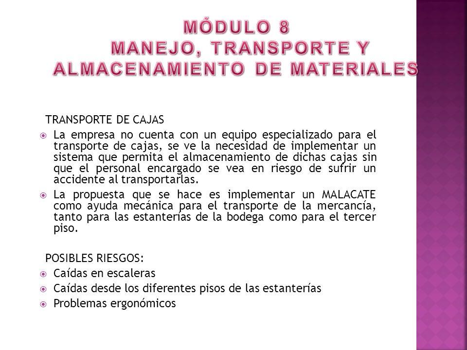 TRANSPORTE DE CAJAS La empresa no cuenta con un equipo especializado para el transporte de cajas, se ve la necesidad de implementar un sistema que per