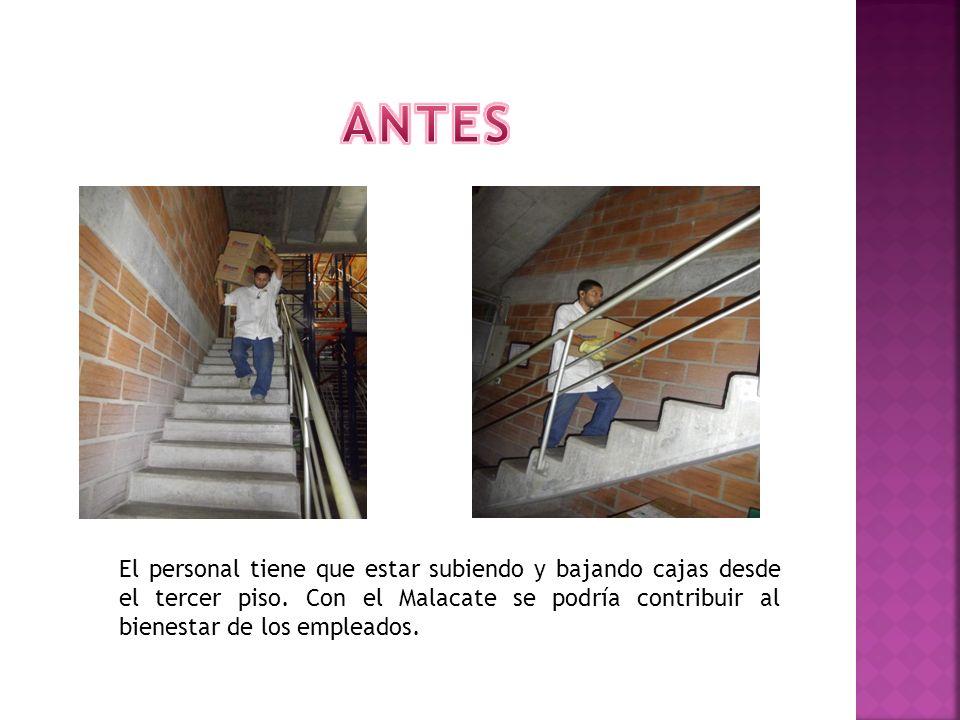 El personal tiene que estar subiendo y bajando cajas desde el tercer piso. Con el Malacate se podría contribuir al bienestar de los empleados.