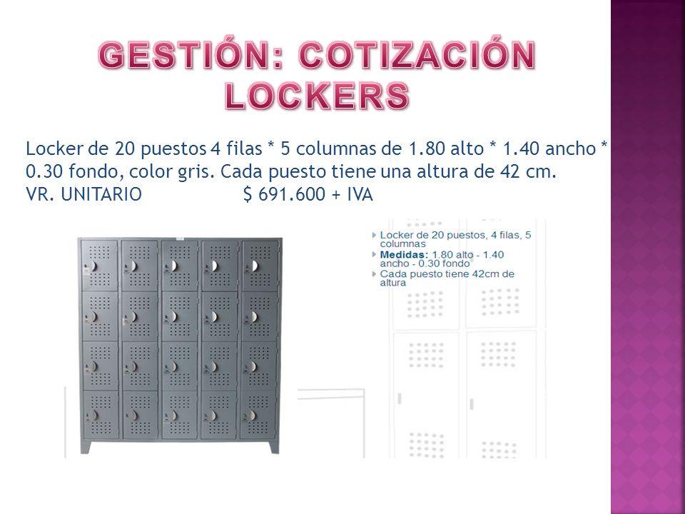 Locker de 20 puestos 4 filas * 5 columnas de 1.80 alto * 1.40 ancho * 0.30 fondo, color gris. Cada puesto tiene una altura de 42 cm. VR. UNITARIO $ 69