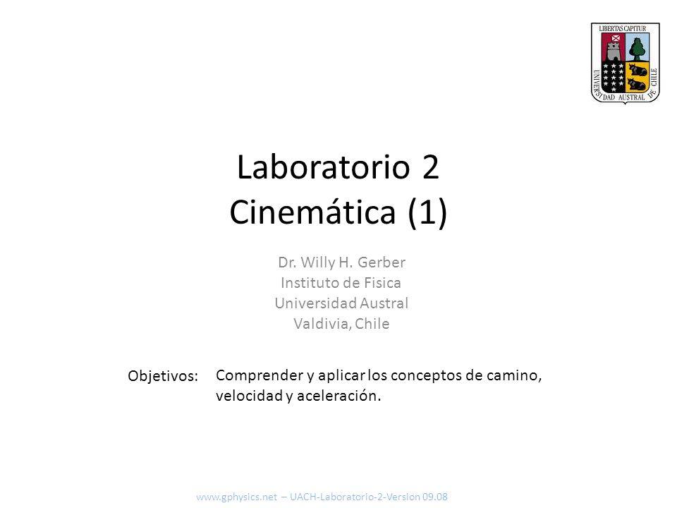 Laboratorio 2 Cinemática (1) Objetivos: www.gphysics.net – UACH-Laboratorio-2-Version 09.08 Dr. Willy H. Gerber Instituto de Fisica Universidad Austra
