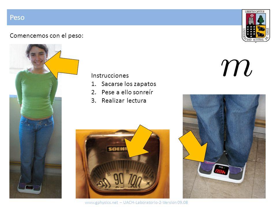 Peso www.gphysics.net – UACH-Laboratorio-2-Version 09.08 Comencemos con el peso: Instrucciones 1.Sacarse los zapatos 2.Pese a ello sonreír 3.Realizar