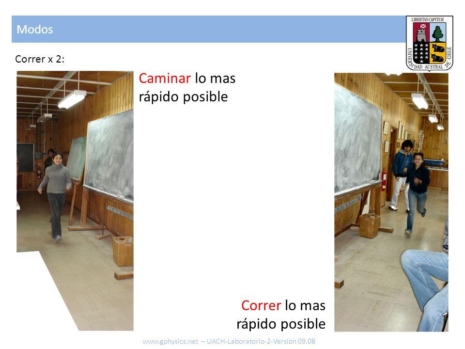 Modos www.gphysics.net – UACH-Laboratorio-2-Version 09.08 Correr x 2: Caminar lo mas rápido posible Correr lo mas rápido posible