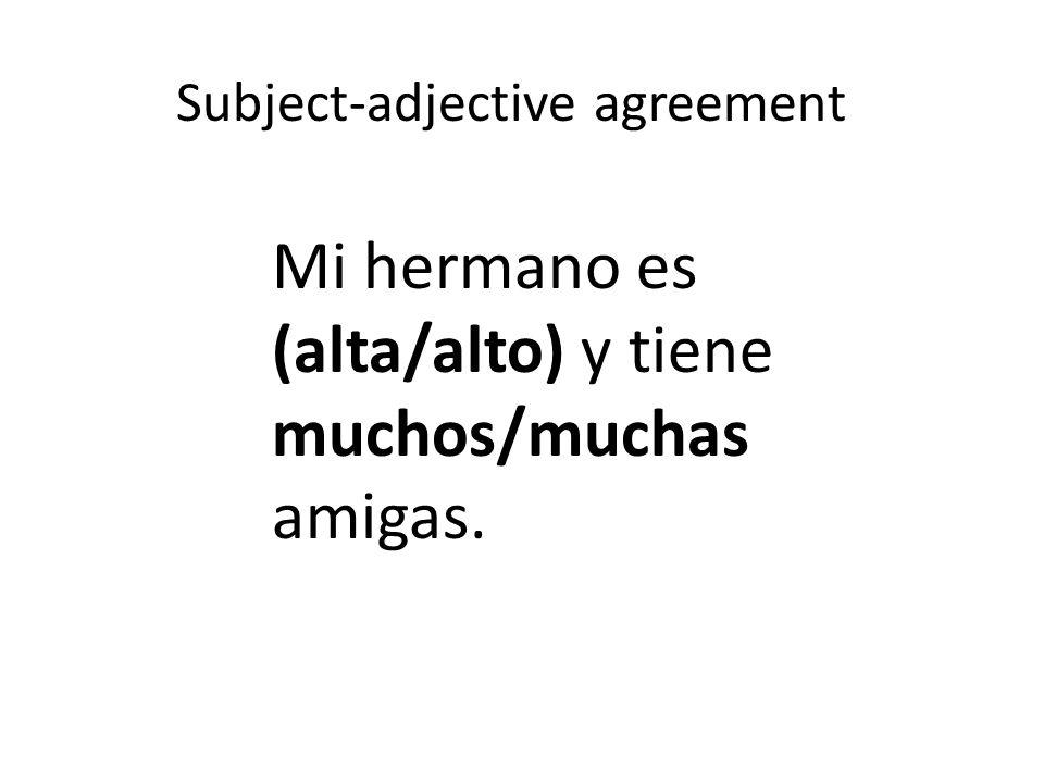 Subject-adjective agreement Mi hermano es (alta/alto) y tiene muchos/muchas amigas.