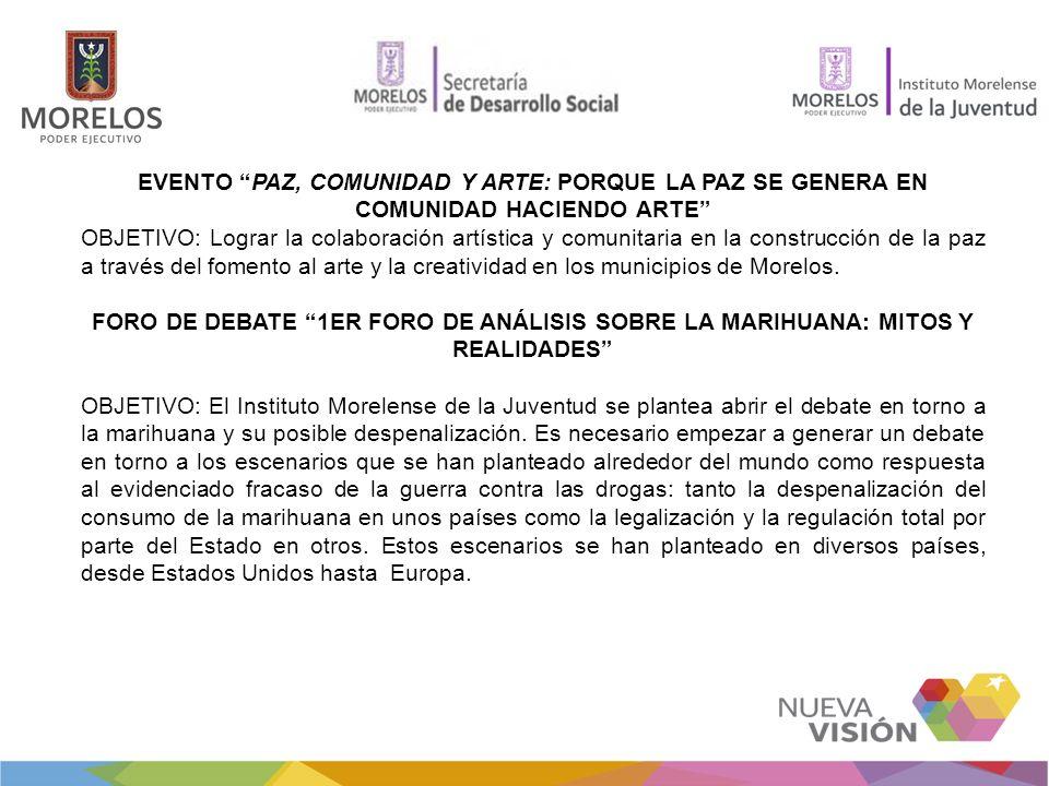 EVENTO PAZ, COMUNIDAD Y ARTE: PORQUE LA PAZ SE GENERA EN COMUNIDAD HACIENDO ARTE OBJETIVO: Lograr la colaboración artística y comunitaria en la construcción de la paz a través del fomento al arte y la creatividad en los municipios de Morelos.