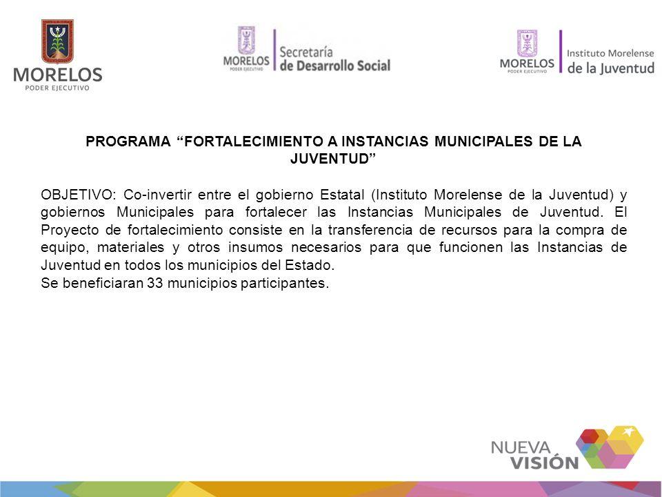 PROGRAMA FORTALECIMIENTO A INSTANCIAS MUNICIPALES DE LA JUVENTUD OBJETIVO: Co-invertir entre el gobierno Estatal (Instituto Morelense de la Juventud)