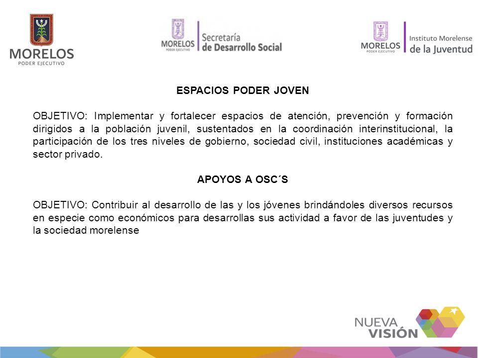 ESPACIOS PODER JOVEN OBJETIVO: Implementar y fortalecer espacios de atención, prevención y formación dirigidos a la población juvenil, sustentados en