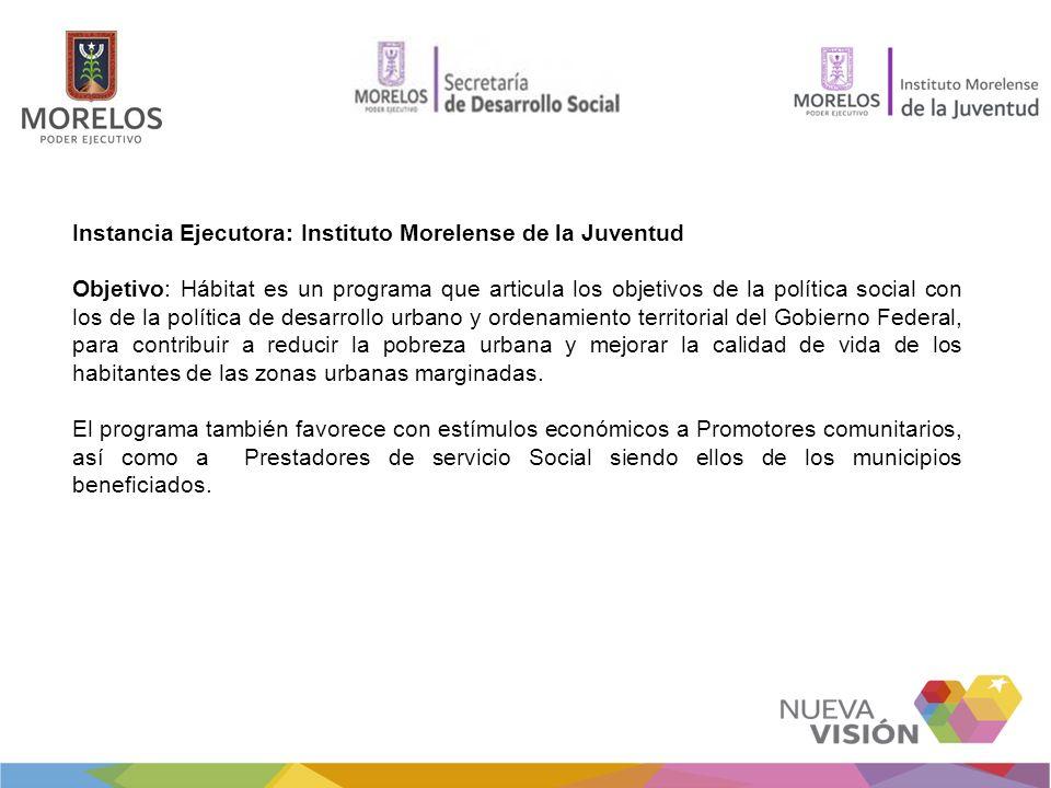Instancia Ejecutora: Instituto Morelense de la Juventud Objetivo: Hábitat es un programa que articula los objetivos de la política social con los de l