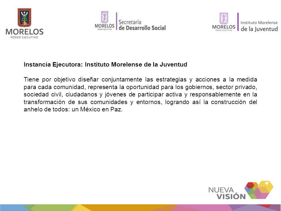 Instancia Ejecutora: Instituto Morelense de la Juventud Tiene por objetivo diseñar conjuntamente las estrategias y acciones a la medida para cada comu