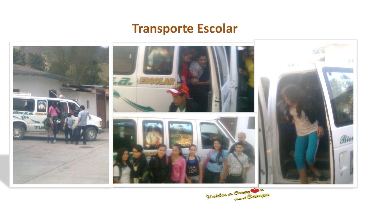 Transporte Escolar Se presto el servicio de transporte escolar durante la vigencia 2013, a 77 estudiantes ubicados en zonas de difícil acceso correspo