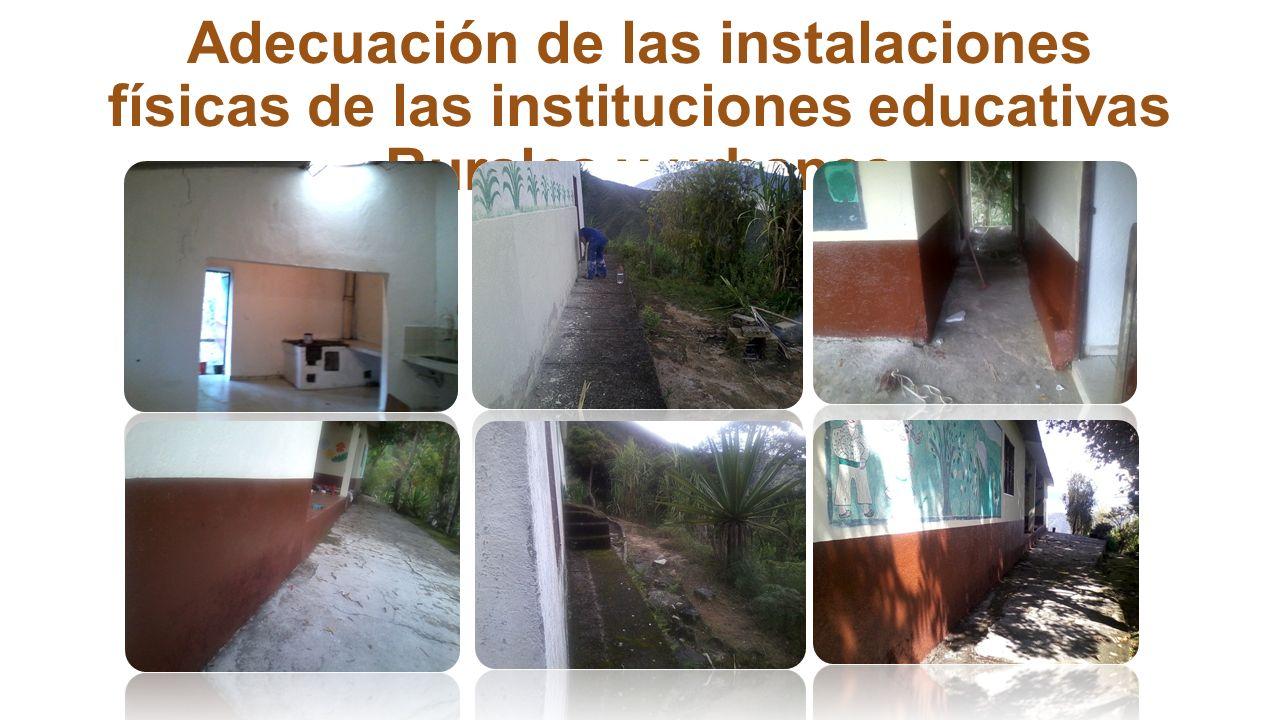 Construcción ampliación y adecuación de infraestructura educativa. Mantenimiento y adecuación de las instalaciones físicas de las instituciones educat