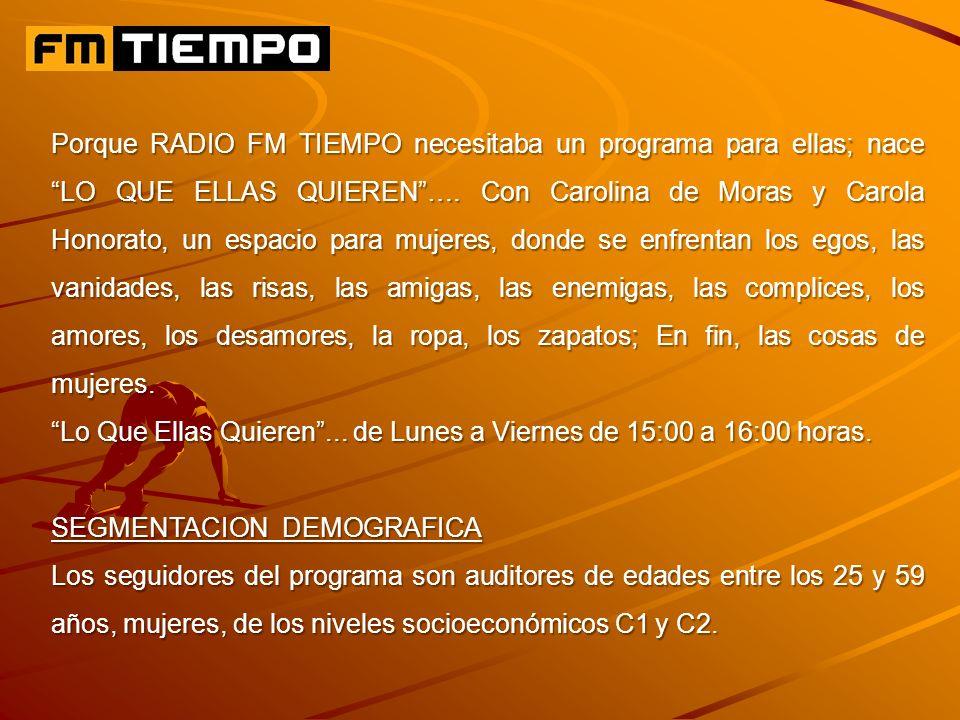 Porque RADIO FM TIEMPO necesitaba un programa para ellas; nace LO QUE ELLAS QUIEREN….