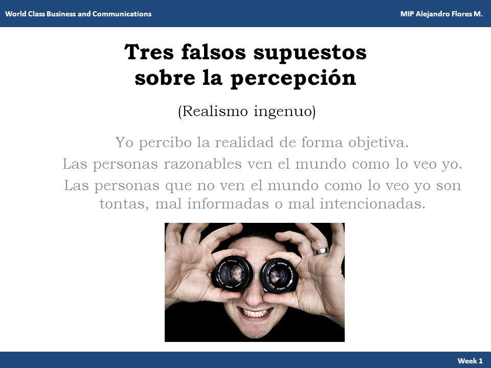 Tres falsos supuestos sobre la percepción Yo percibo la realidad de forma objetiva. Las personas razonables ven el mundo como lo veo yo. Las personas