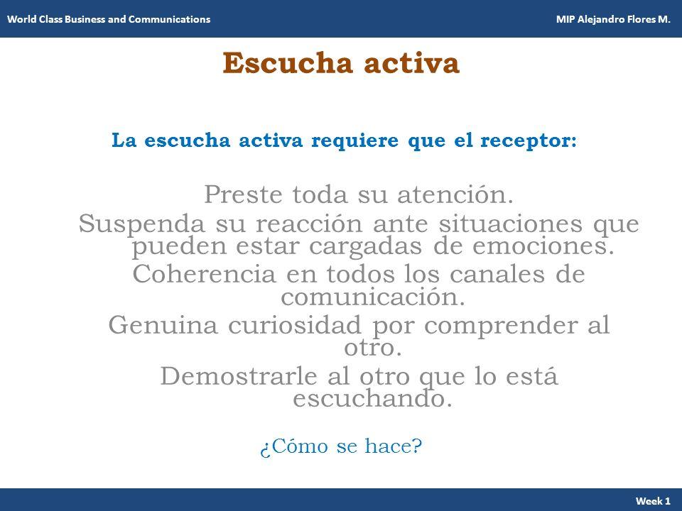Escucha activa La escucha activa requiere que el receptor: Preste toda su atención. Suspenda su reacción ante situaciones que pueden estar cargadas de