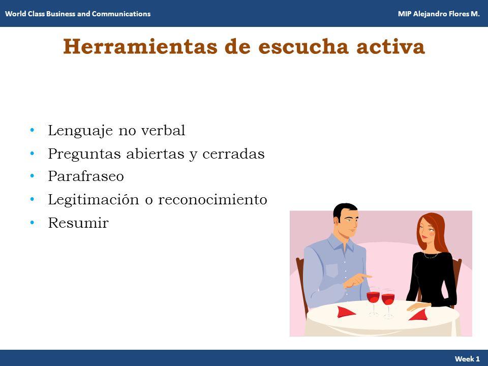 Herramientas de escucha activa Lenguaje no verbal Preguntas abiertas y cerradas Parafraseo Legitimación o reconocimiento Resumir Week 1 World Class Bu