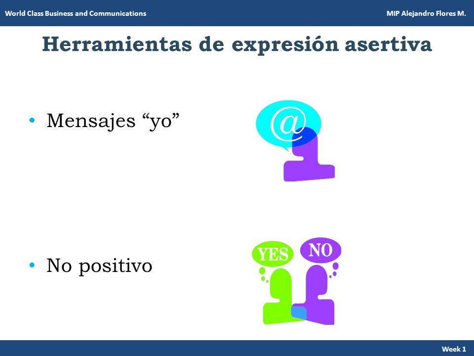 Herramientas de expresión asertiva Mensajes yo No positivo Week 1 World Class Business and Communications MIP Alejandro Flores M.