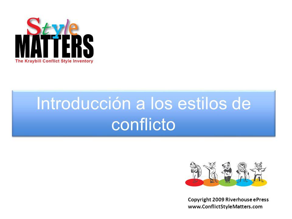 Introducción a los estilos de conflicto Copyright 2009 Riverhouse ePress www.ConflictStyleMatters.com