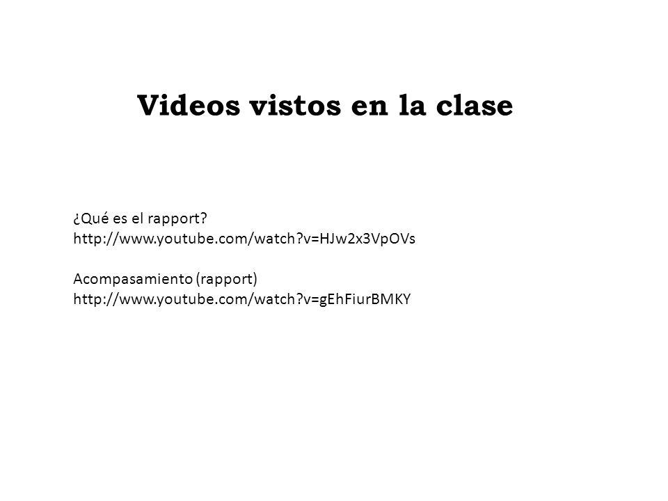 Videos vistos en la clase ¿Qué es el rapport? http://www.youtube.com/watch?v=HJw2x3VpOVs Acompasamiento (rapport) http://www.youtube.com/watch?v=gEhFi