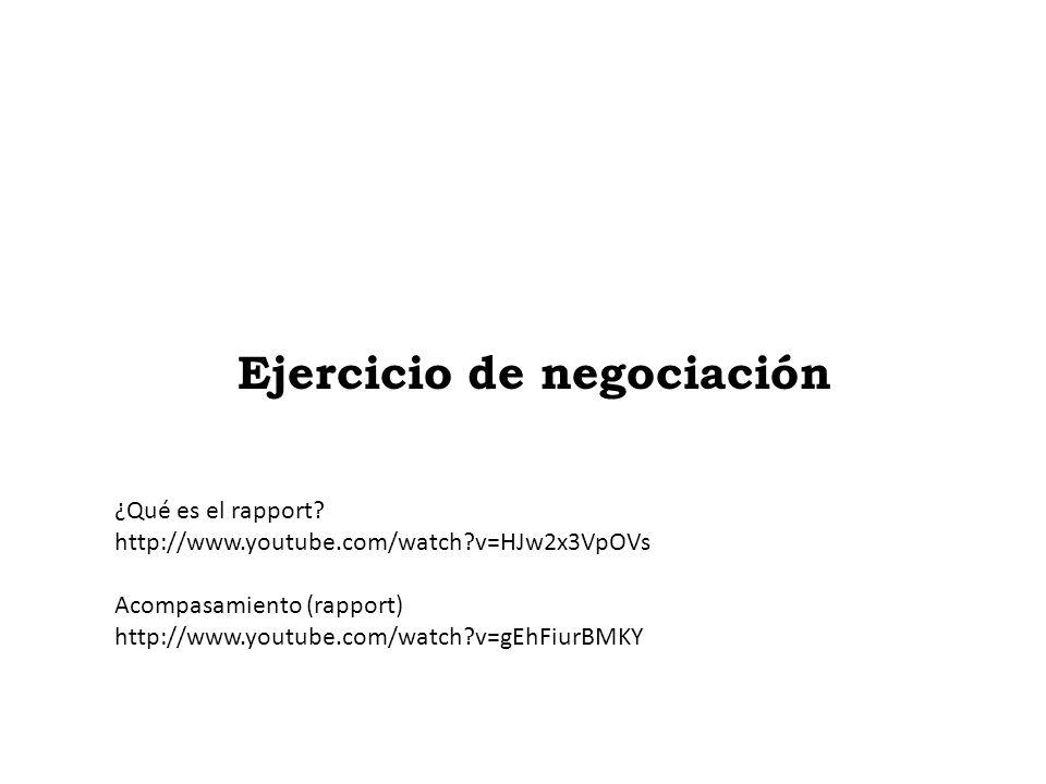 Ejercicio de negociación ¿Qué es el rapport? http://www.youtube.com/watch?v=HJw2x3VpOVs Acompasamiento (rapport) http://www.youtube.com/watch?v=gEhFiu