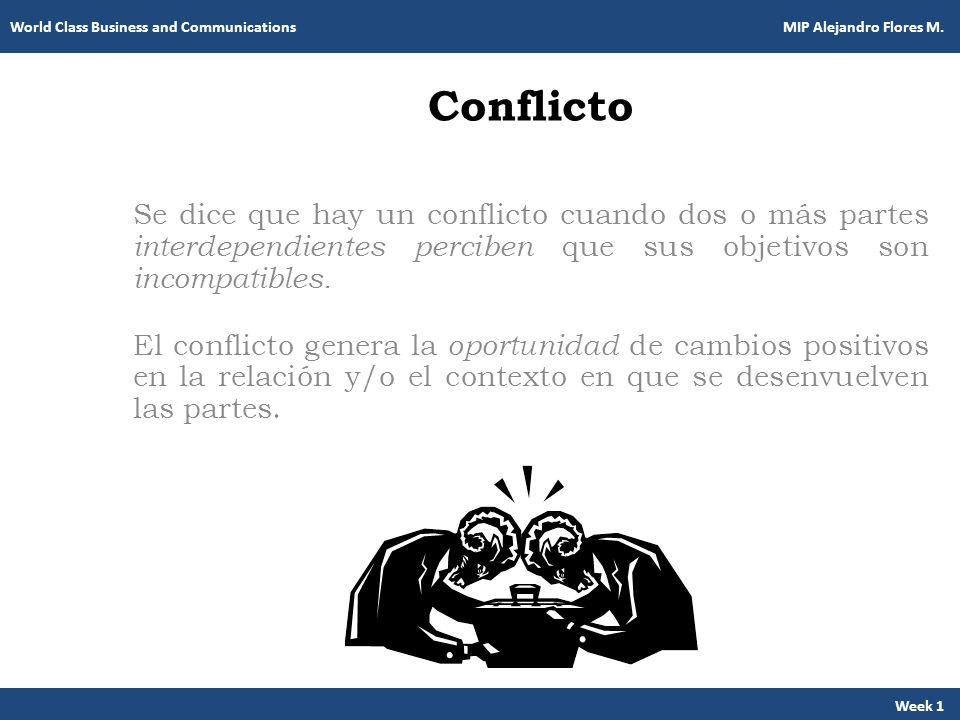 Conflicto Se dice que hay un conflicto cuando dos o más partes interdependientes perciben que sus objetivos son incompatibles. El conflicto genera la