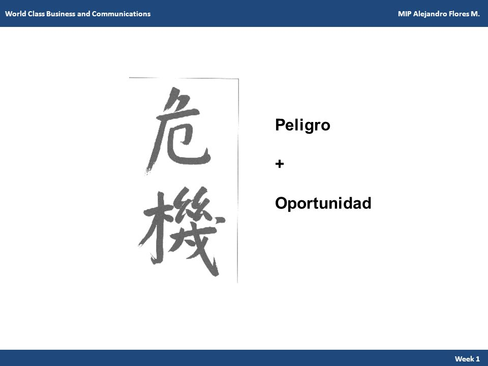 Peligro + Oportunidad Week 1 World Class Business and Communications MIP Alejandro Flores M.