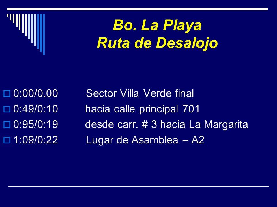 Bo. La Playa Ruta de Desalojo 0:00/0.00 Sector Villa Verde final 0:49/0:10 hacia calle principal 701 0:95/0:19 desde carr. # 3 hacia La Margarita 1:09