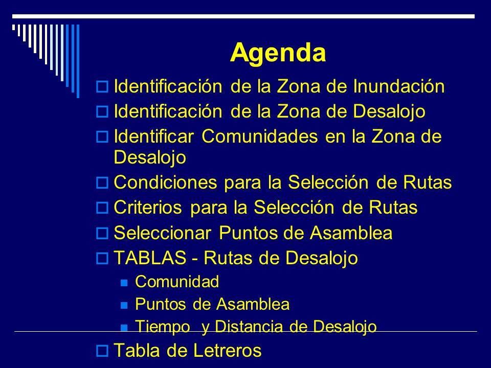 Agenda Identificación de la Zona de Inundación Identificación de la Zona de Desalojo Identificar Comunidades en la Zona de Desalojo Condiciones para la Selección de Rutas Criterios para la Selección de Rutas Seleccionar Puntos de Asamblea TABLAS - Rutas de Desalojo Comunidad Puntos de Asamblea Tiempo y Distancia de Desalojo Tabla de Letreros