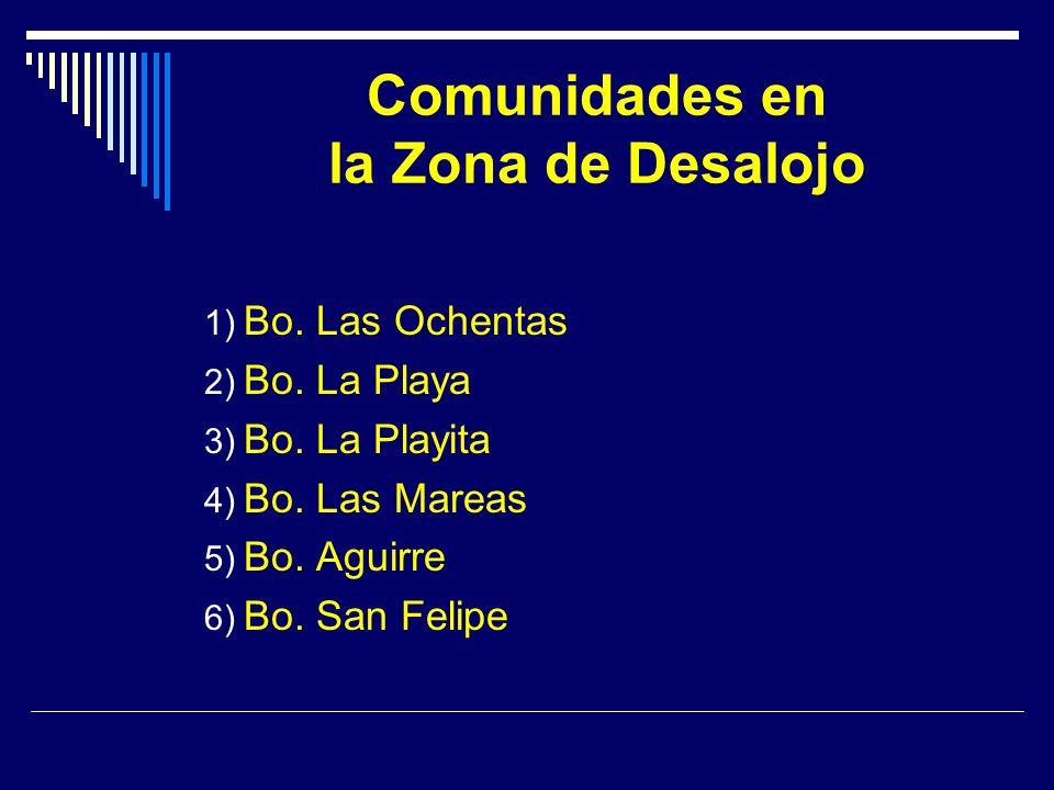 Comunidades en la Zona de Desalojo 1) Bo. Las Ochentas 2) Bo.