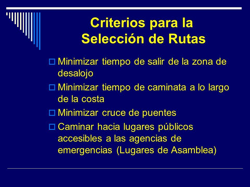 Criterios para la Selección de Rutas Minimizar tiempo de salir de la zona de desalojo Minimizar tiempo de caminata a lo largo de la costa Minimizar cruce de puentes Caminar hacia lugares públicos accesibles a las agencias de emergencias (Lugares de Asamblea)
