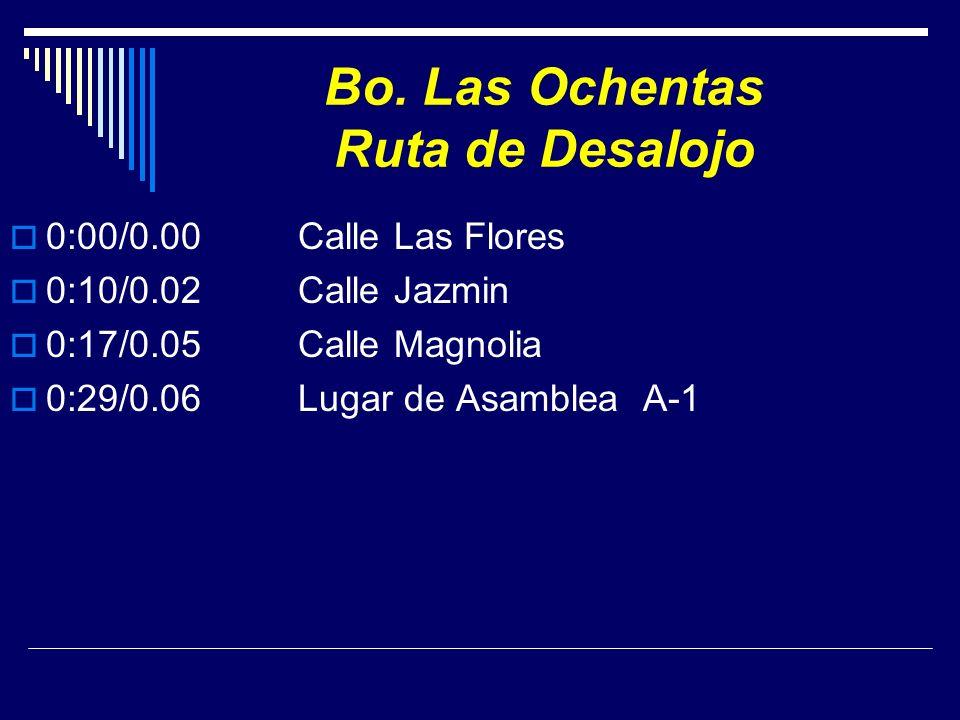 Bo. Las Ochentas Ruta de Desalojo 0:00/0.00 Calle Las Flores 0:10/0.02Calle Jazmin 0:17/0.05Calle Magnolia 0:29/0.06Lugar de Asamblea A-1