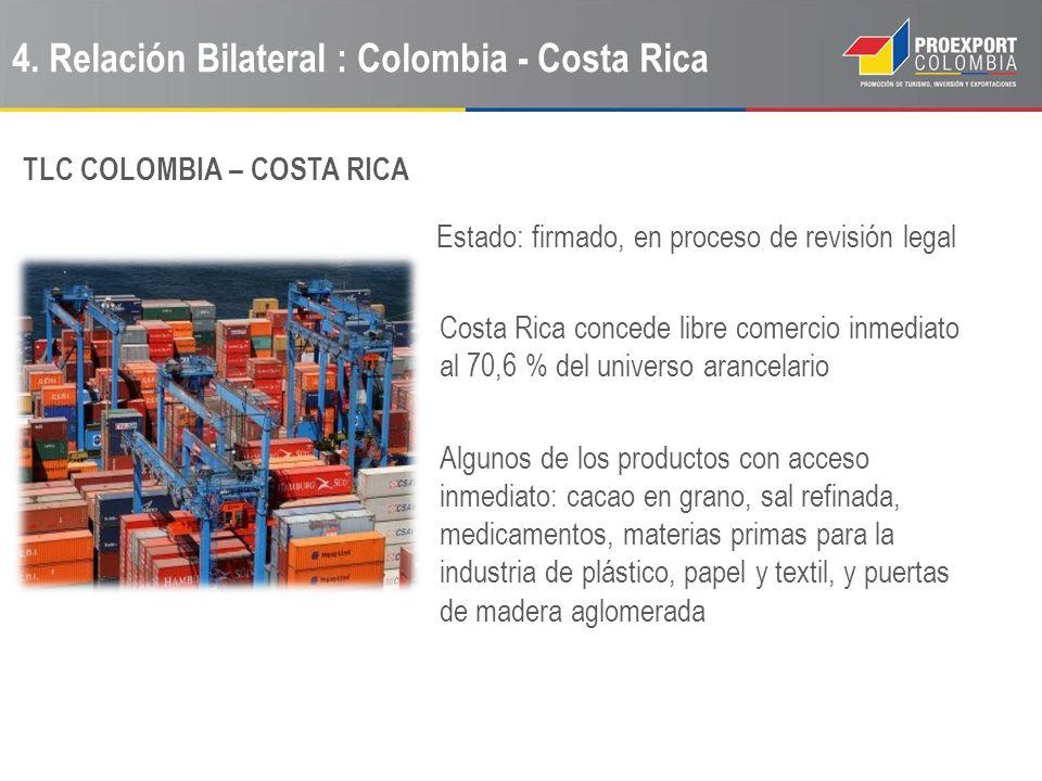 4. Relación Bilateral : Colombia - Costa Rica Estado: firmado, en proceso de revisión legal Costa Rica concede libre comercio inmediato al 70,6 % del