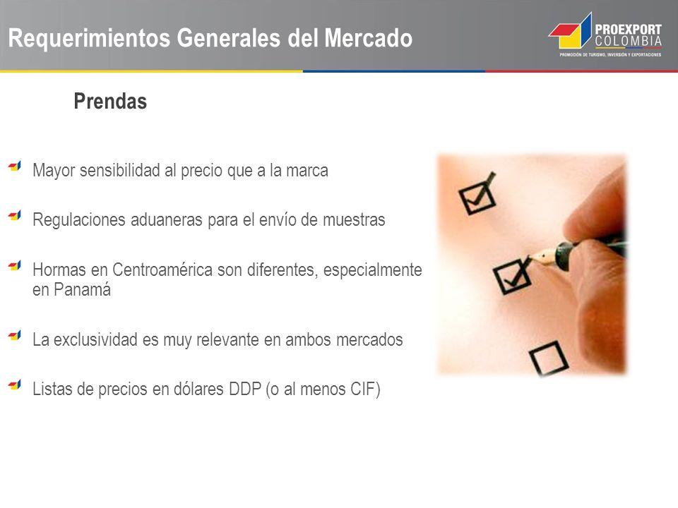 Requerimientos Generales del Mercado Mayor sensibilidad al precio que a la marca Regulaciones aduaneras para el envío de muestras Hormas en Centroamér