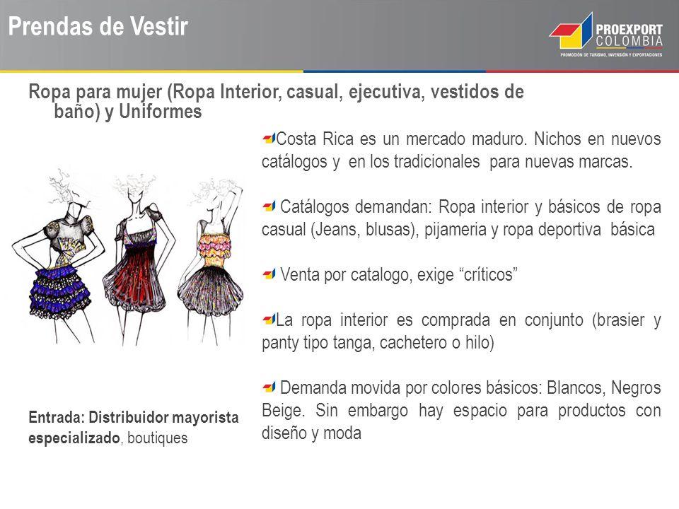 Prendas de Vestir Costa Rica es un mercado maduro. Nichos en nuevos catálogos y en los tradicionales para nuevas marcas. Catálogos demandan: Ropa inte