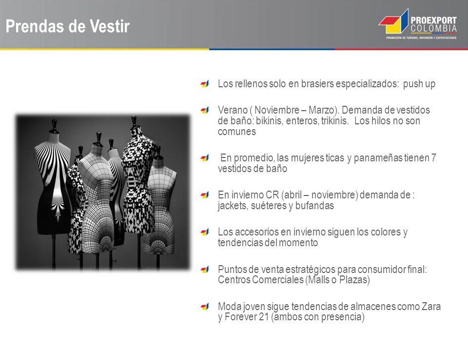 Prendas de Vestir Los rellenos solo en brasiers especializados: push up Verano ( Noviembre – Marzo). Demanda de vestidos de baño: bikinis, enteros, tr