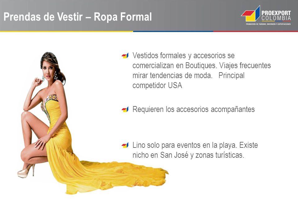Prendas de Vestir – Ropa Formal Vestidos formales y accesorios se comercializan en Boutiques. Viajes frecuentes mirar tendencias de moda. Principal co