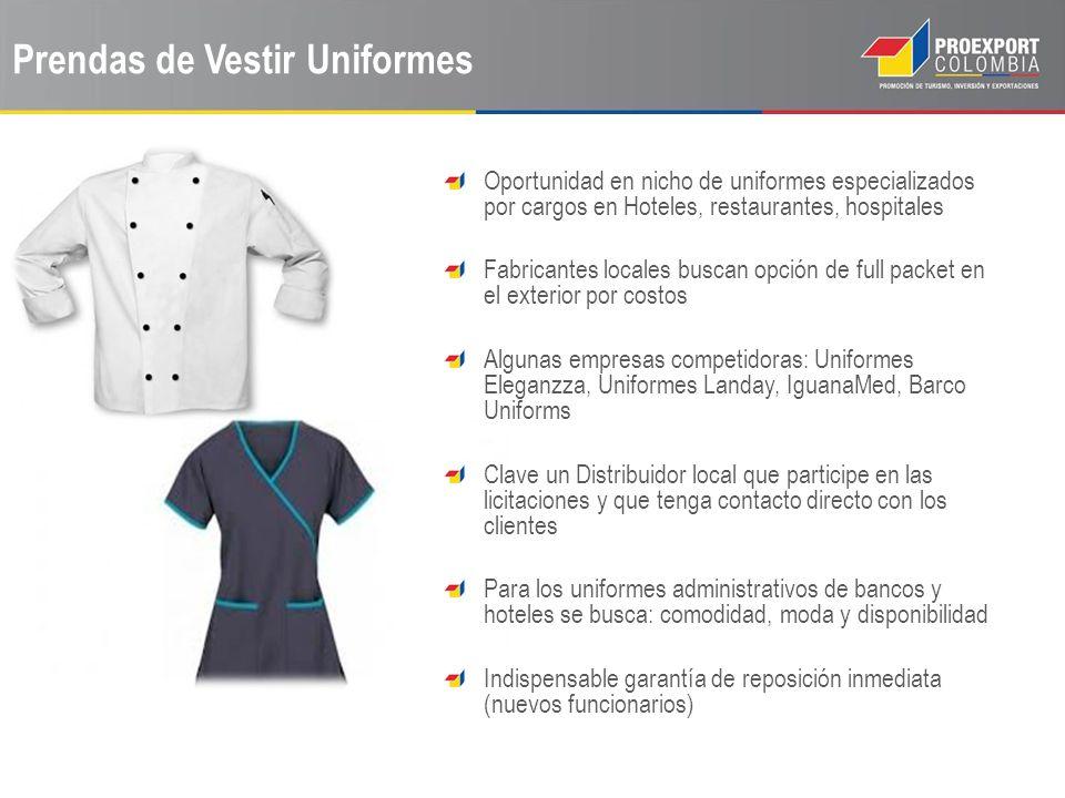 Prendas de Vestir Uniformes Oportunidad en nicho de uniformes especializados por cargos en Hoteles, restaurantes, hospitales Fabricantes locales busca