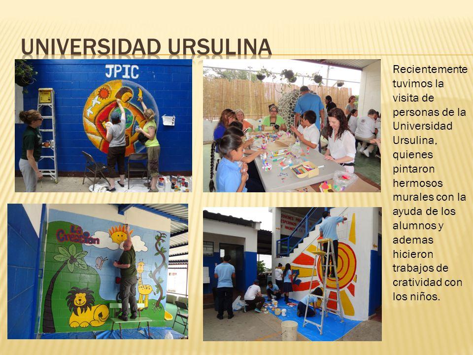 Recientemente tuvimos la visita de personas de la Universidad Ursulina, quienes pintaron hermosos murales con la ayuda de los alumnos y ademas hiciero