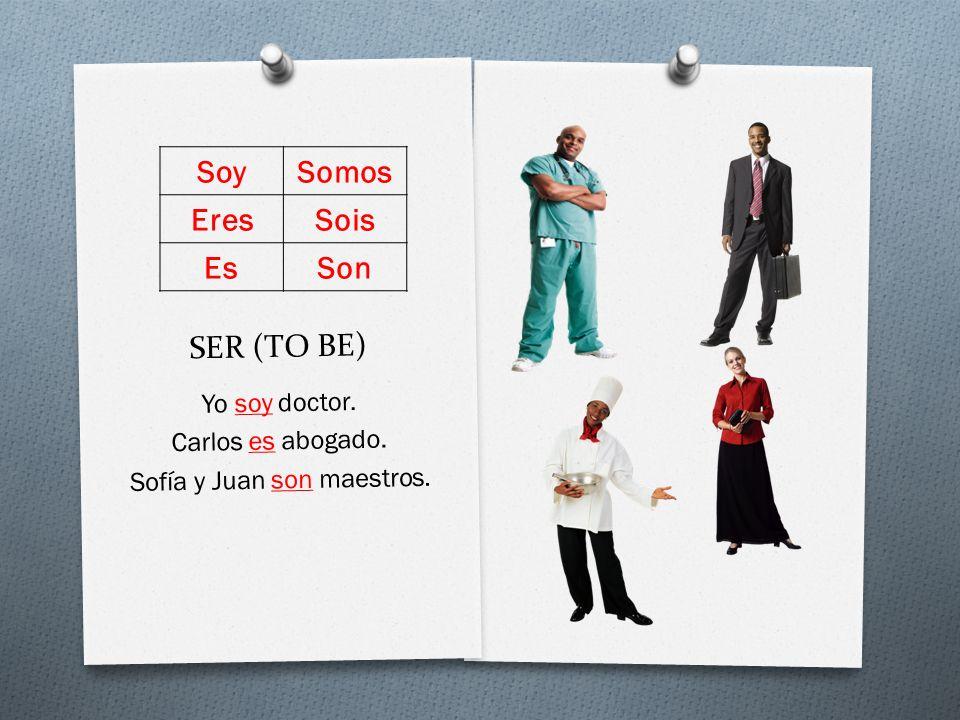 SER (TO BE) Yo soy doctor. Carlos es abogado. Sofía y Juan son maestros. SoySomos EresSois EsSon