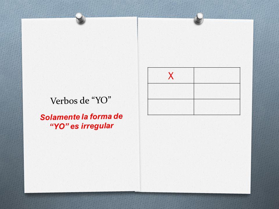 Verbos de YO X Solamente la forma de YO es irregular