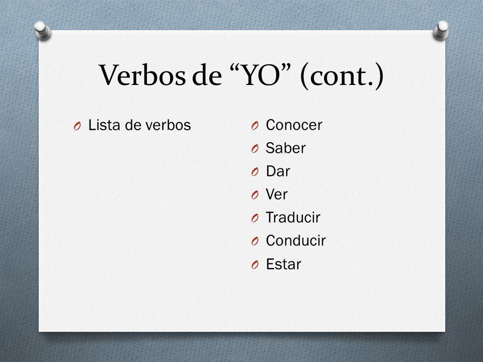 Verbos de YO (cont.) O Lista de verbos O Conocer O Saber O Dar O Ver O Traducir O Conducir O Estar