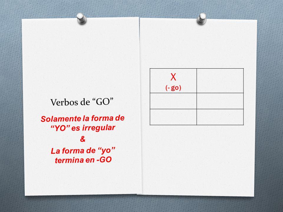Verbos de GO X (- go) Solamente la forma de YO es irregular & La forma de yo termina en -GO