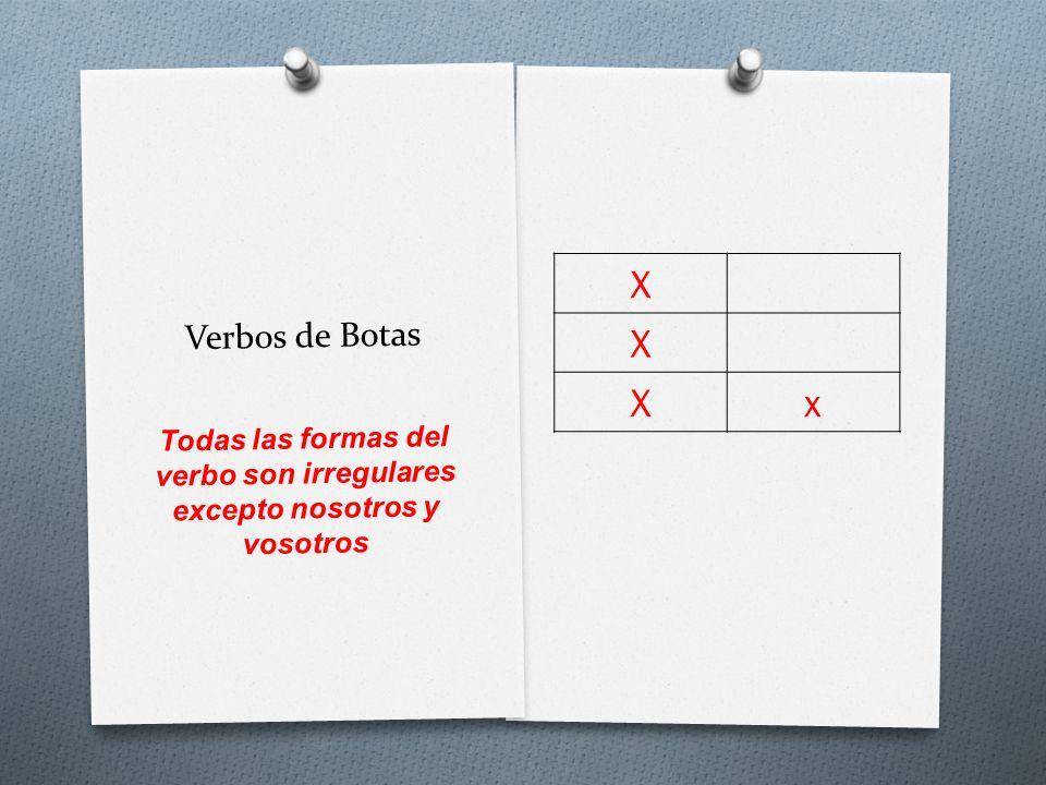 Verbos de Botas X X Xx Todas las formas del verbo son irregulares excepto nosotros y vosotros