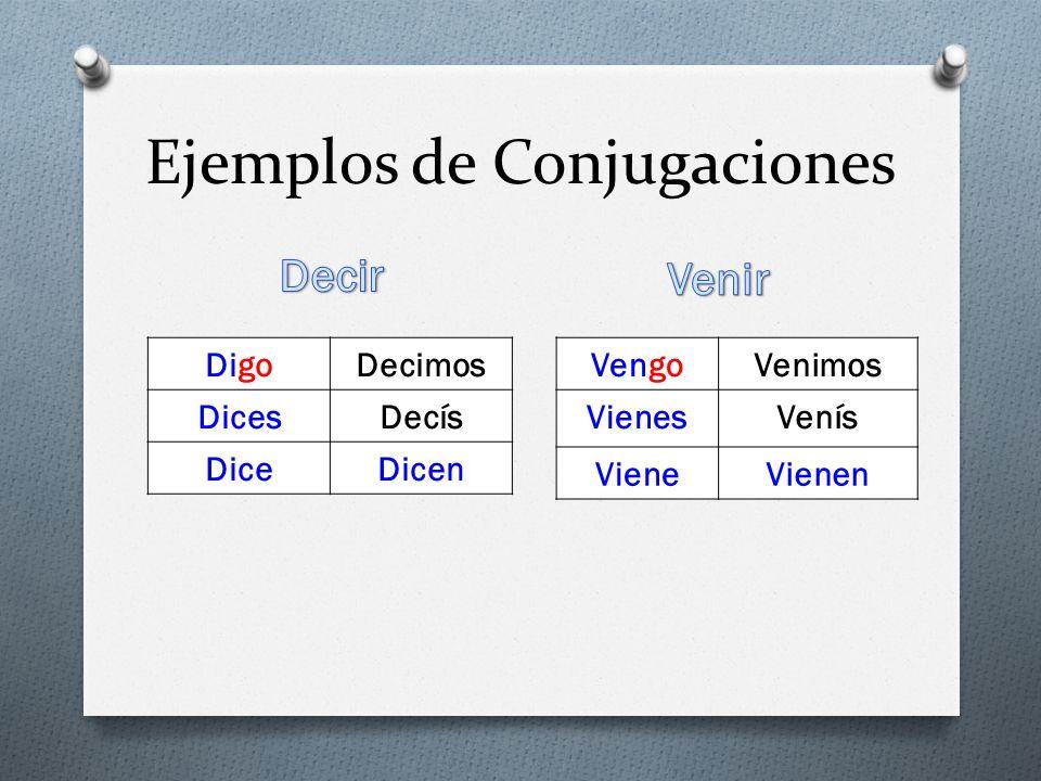 Ejemplos de Conjugaciones DigoDecimos DicesDecís DiceDicen VengoVenimos VienesVenís VieneVienen