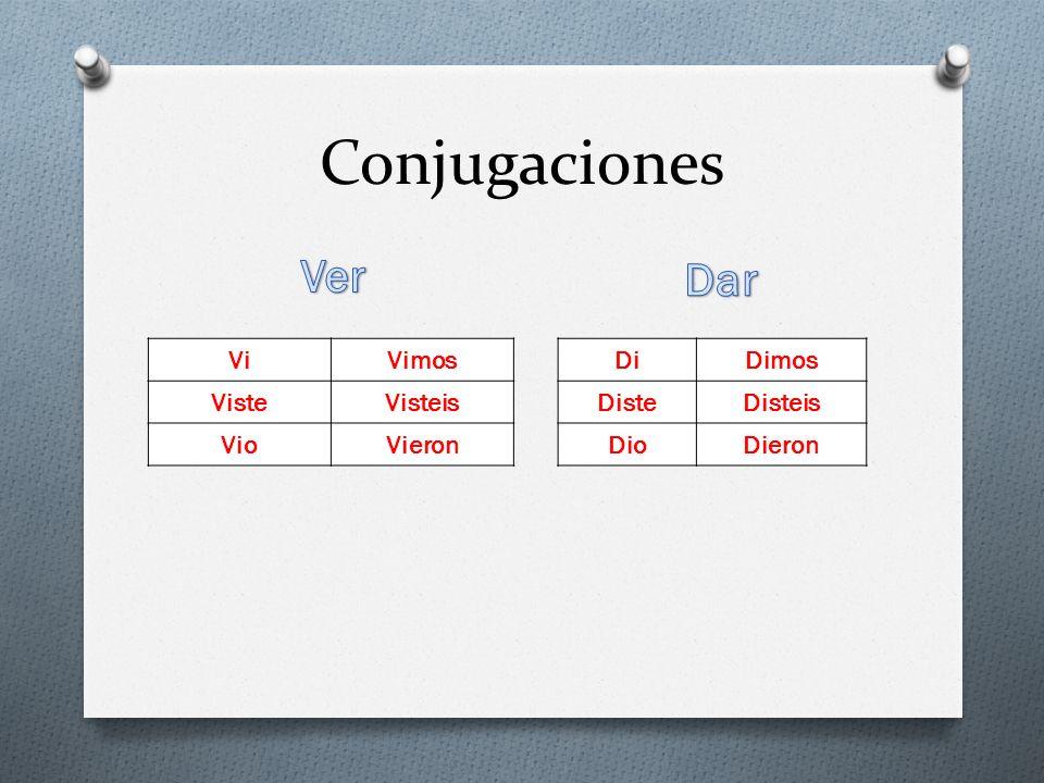 Conjugaciones ViVimos VisteVisteis VioVieron DiDimos DisteDisteis DioDieron