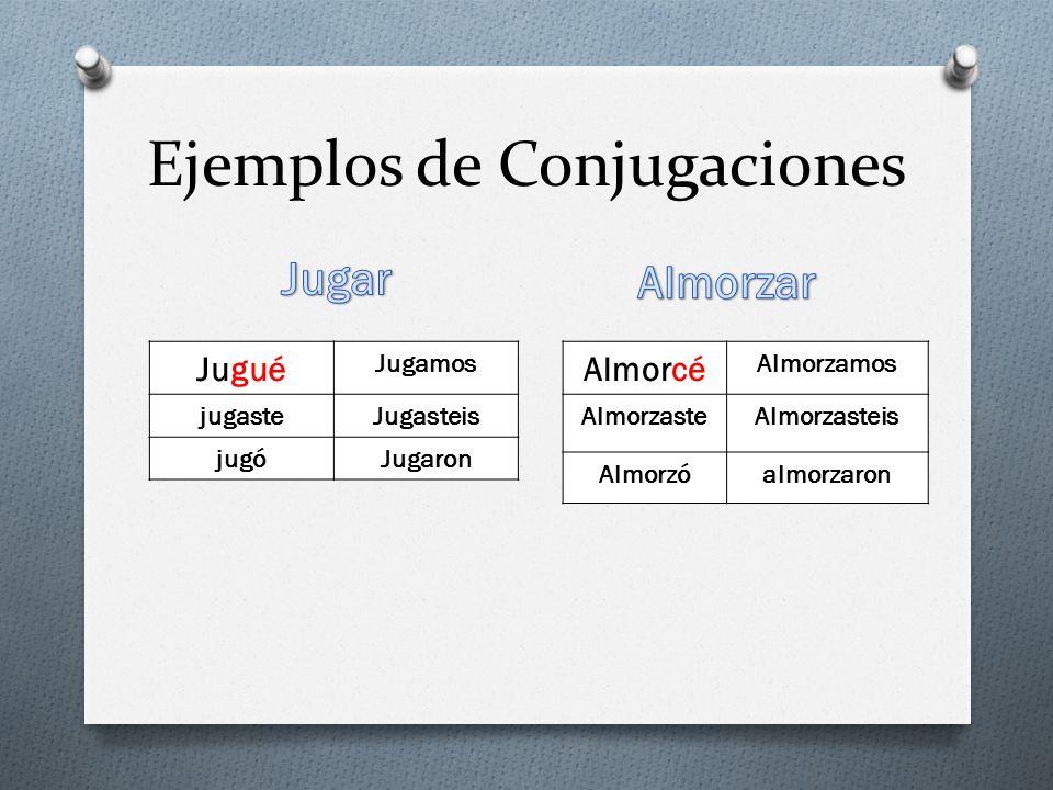 Ejemplos de Conjugaciones Jugué Jugamos jugasteJugasteis jugóJugaron Almorcé Almorzamos AlmorzasteAlmorzasteis Almorzóalmorzaron