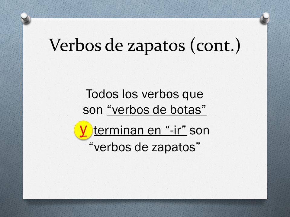 Verbos de zapatos (cont.) Todos los verbos que son verbos de botas y terminan en -ir son verbos de zapatos